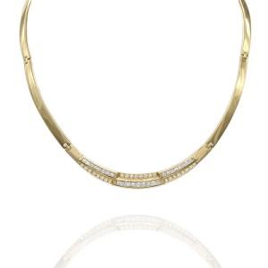 Omega Station 18K Yellow Gold Diamond Necklace