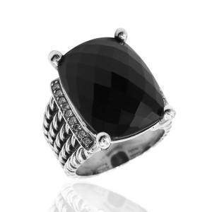 David Yurman Wheaton Sterling Silver Onyx, Diamond Ring Size 5.5