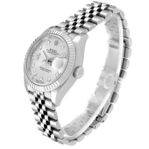 Rolex Datejust 28 Steel White Gold Diamond Dial Ladies Watch 279174 Box Papers