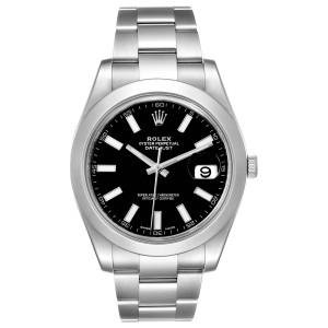 Rolex Datejust II 41mm Black Dial Oyster Bracelet Steel Mens Watch 116300 Box Papers