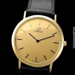 OMEGA DE VILLE Mens Midsize 18K Gold Plated Watch - Mint with Warranty