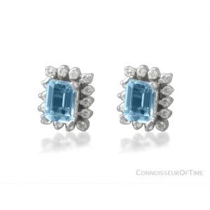 Diamond, Aquamarine and 14K White Gold Stud Earrings 2.1 Carats, $3950 AGS Cert.