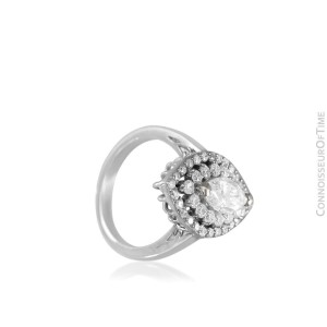 18K White Gold Halo Engagement Wedding Ring, .87 CT Marquise, 1.6 CT - $13,000