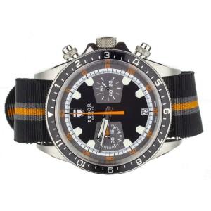 Tudor Heritage Chronograph Black/ Orange on Nato m70330n-0004