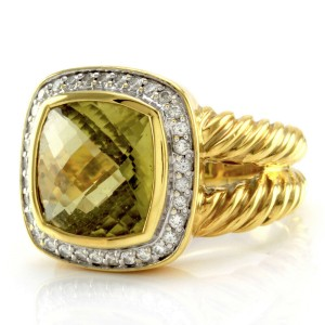 Yurman Albion Lemon Quartz Diamond Ring in Gold