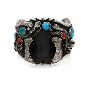 Huge DAVID TUCKER Navajo Silver Turquosie Coral Kachina Watch Cuff Bracelet