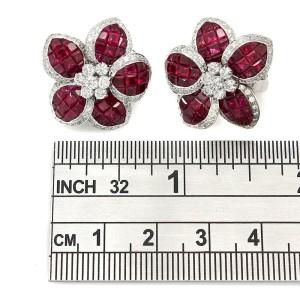 18KW Diamond and Ruby Flower Earrings
