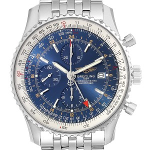 Breitling Navitimer World Blue Dial Steel Mens Watch A24322 Box Papers
