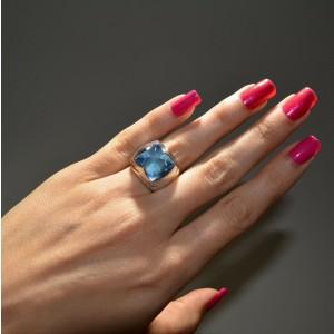 18K White Gold Bvlgari Piramide Blue Topaz Cocktail/ Right Hand Ring-Size 6