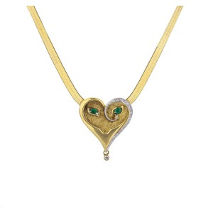 Limited Edition Erté 'Emerald Eyes Mask' Diamond Pendant and Necklace