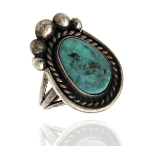 Navajo Signed RS Sterling Silver & Turquoise Ring
