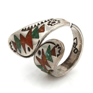 Navajo William Singer Sterling Silver Chip Inlay Ring
