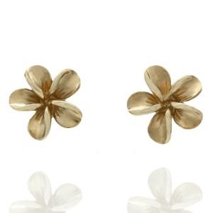 14KY Flower Pierced Earrings 14.2mm