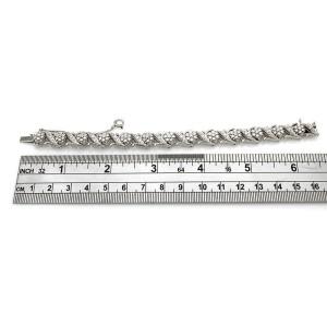 Vintage Jabel 18KW Diamond Cluster Bracelet 6.25 IN