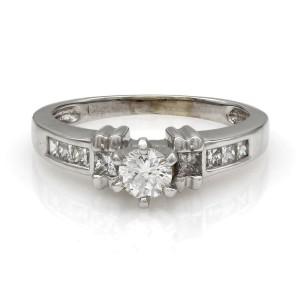 Round and Princess Diamond Engagement Ring 14KW