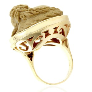 14KY Carved Lava Cameo Ring