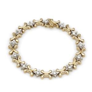 14KY Diamond H Link Bracelet