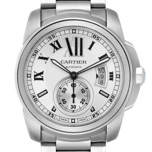 Calibre De Cartier Silver Dial Steel Automatic Mens Watch W7100015