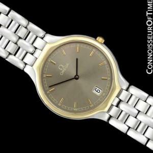 """OMEGA DE VILLE """"SYMBOL"""" Mens SS Steel & Solid 18K Gold Watch - Mint - Warranty"""