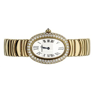 Cariter Baignoire Mini Quartz MOP dial Yellow Gold on Bracelet. Ref: 1954