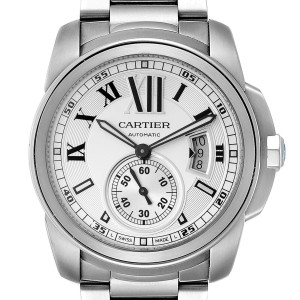 Calibre De Cartier Silver Dial Steel Automatic Mens Watch W7100015 Box