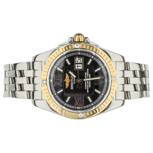 Breilting Galactic 41 Stainless Steel Yellow Gold Bezel C49350 Diamond Tab Bezel