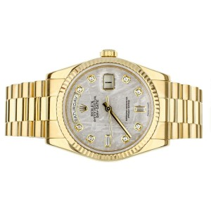 ROLEX DAY DATE 36MM YELLOW GOLD FACTORY METEORITE DIAMOND DIAL FULL SET 118238