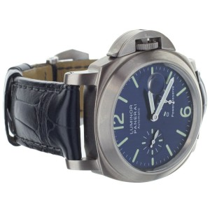 Panerai Luminor Power Reserve Date PAM 93 Blue Titanium 44mm Watch PAM00093