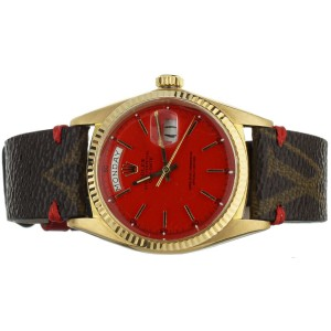 Rolex Day Date 36mm Yellow Gold Red Dial 1803