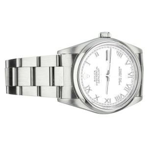 Rolex 36mm Datejust Stainless Steel Oyster Bracelet White Roman Dial 16200