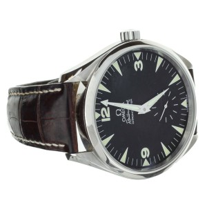 Omega Railmaster 2806.52.37 Stainless Steel with Leather Strap on Deployant 49mm