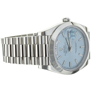 Rolex Platinum Day Date 40mm Glacier Blue Dial 228206 Full Set