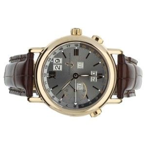 ULYSSE NARDIN GMT PERPETUAL 38MM ROSE GOLD SILVER DIAL COMPLETE SET REF 326-22