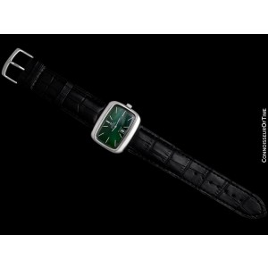1970's OMEGA De Ville MensRetro SS Green Dial TV Watch - Mint with Warranty