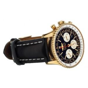 Breitling Navitimer B01 Rose Gold Black Dial 43mm Leather Strap RB0120