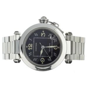Cartier Pasha Stainless Steel Black Dial on Bracelet 35mm ref: 2324