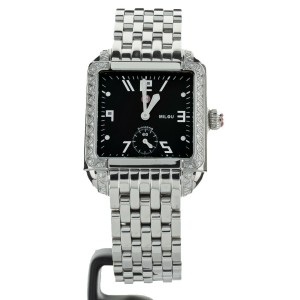 Michele Milou Stainless Steel Black Dial Diamond Bezel 28x32mm  ref MW15A01A2026