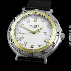 HERMES Ladies Captain Nemo SS Steel & 18K Gold Watch - Mint with Warranty