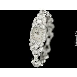 1950's Vintage Ladies Watch - Omega Movement - Platinum, 3.5+ Carats of Diamonds