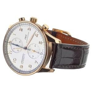 IWC Portugeiser Chronograph Rose Gold White Dial 41mm IW371480 Full Set