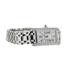 CARTIER TANK AMERICAINE WHITE GOLD FACTORY DIAMOND BEZEL ON BRACELET REF: 1713