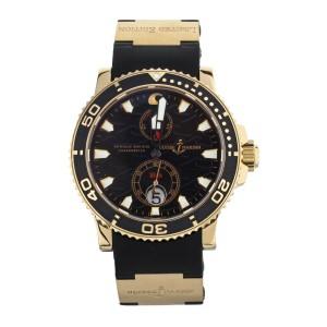 ULYSSE NARDIN MAXI MARINE DIVER BLACK SURF ROSE GOLD RUBBER STRAP 43MM 266-37