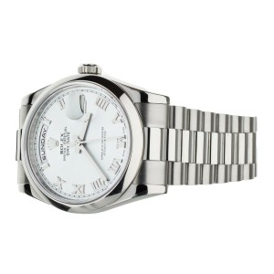 ROLEX DAY DATE PLATINUM SILVER DIAL 36MM 118206 FULL SET