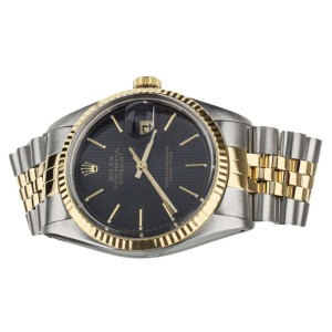 ROLEX DATEJUST 36MM STAINLESS STEEL YELLOW GOLD BLACK TUXEDO DIAL REF: 16013