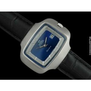 """1970's OMEGA De Ville MensMassive Retro SS """"TV Shaped"""" Watch - Mint w/ Warranty"""