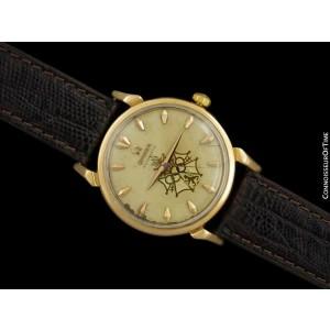 1956 OMEGA SEAMASTER Olympic XVI Mens Vintage 18K Rose Gold - Very Rare Dial