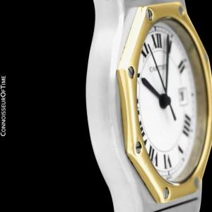 CARTIER SANTOS OCTAGON Mens Unisex SS Steel & 18K Gold Watch, Mint with Warranty