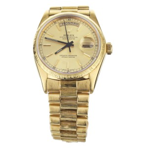 Rolex Day Date Yellow Gold on Yellow Gold Bark Bracelet Gold Dial 36mm 18078
