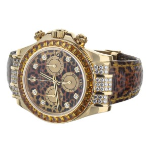 Rolex Daytona Rose Gold leopard Sapphire Diamonds on Strap 40mm 116598 Full Set