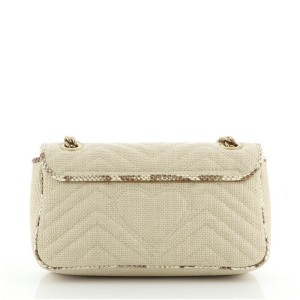 Gucci GG Marmont Flap Bag Matelasse Raffia with Snakeskin Small